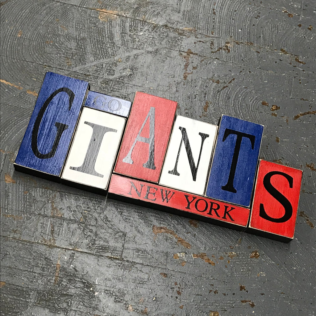 Hand Crafted Wood Word Block Set Football NFL New York Giants Decoration