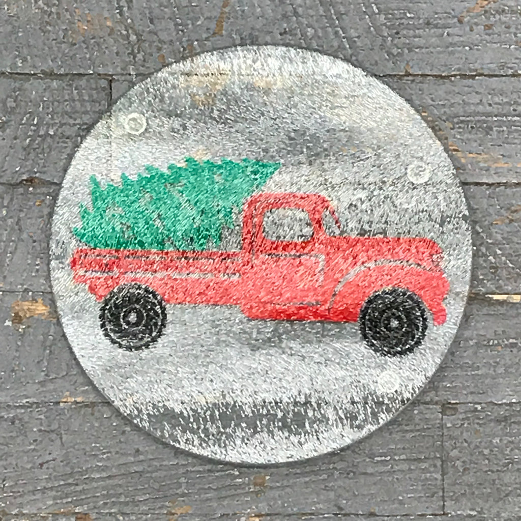 "Cutting Board Trivet 7.75"" Round Glass Vinyled Merry Christmas Red Pick Up Truck"