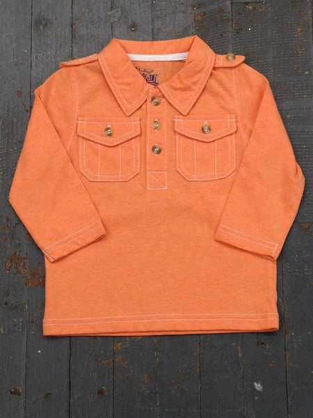 Kapital K Boys Jersey Polo Style Long Sleeve Collared Orange Shirt