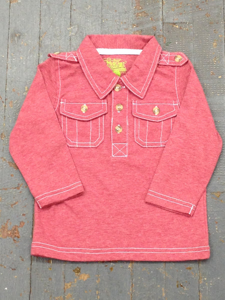 Kapital K Boys Jersey Polo Style Long Sleeve Collared Red Shirt