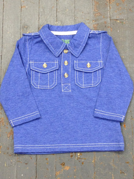 Kapital K Boys Jersey Polo Style Long Sleeve Collared Blue Shirt
