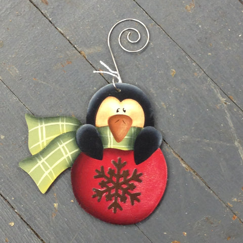 Holiday Christmas Tree Ornament Handmade Wooden Penguin Bulb