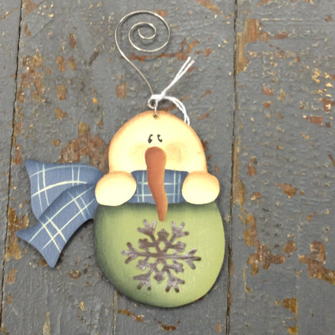 Holiday Christmas Tree Ornament Handmade Wooden Snowman Snowflake Bulb