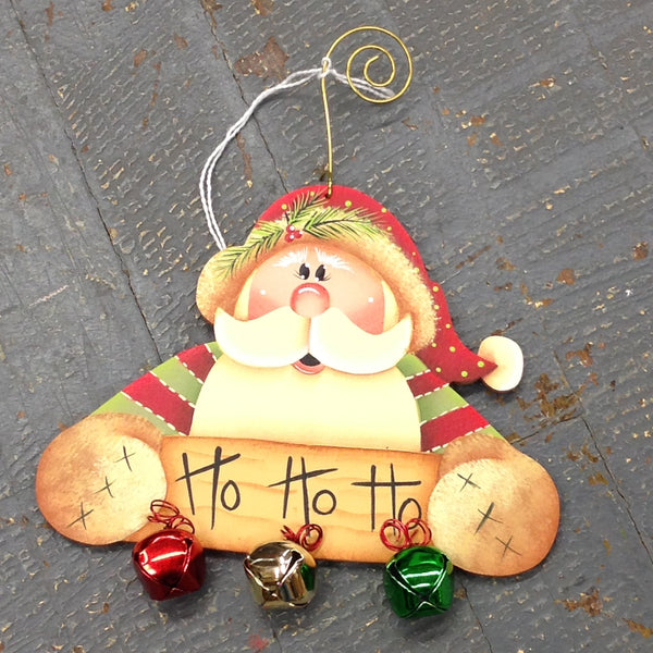Holiday Christmas Tree Ornament Handmade Wooden Santa Claus Jingle Bells