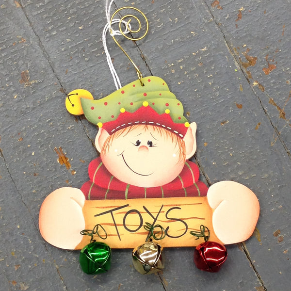 Holiday Christmas Tree Ornament Handmade Wooden Elf Jingle Bells