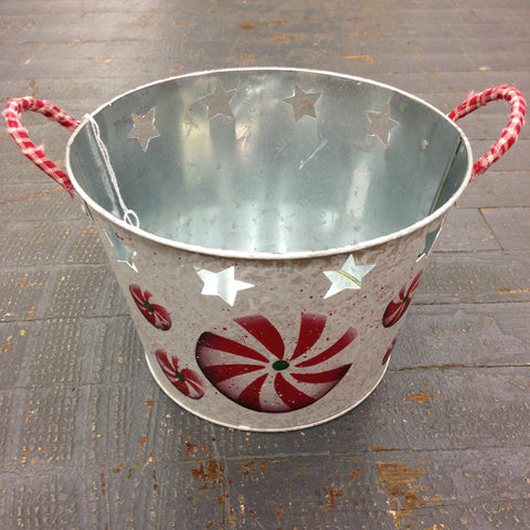 Hand Painted Christmas Candy Primitive Tin Bucket Decoration