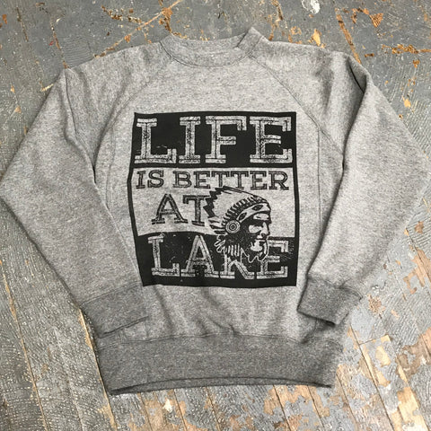 Life is Better at the Lake Crew Neck Grey Graphic Designer Sweatshirt