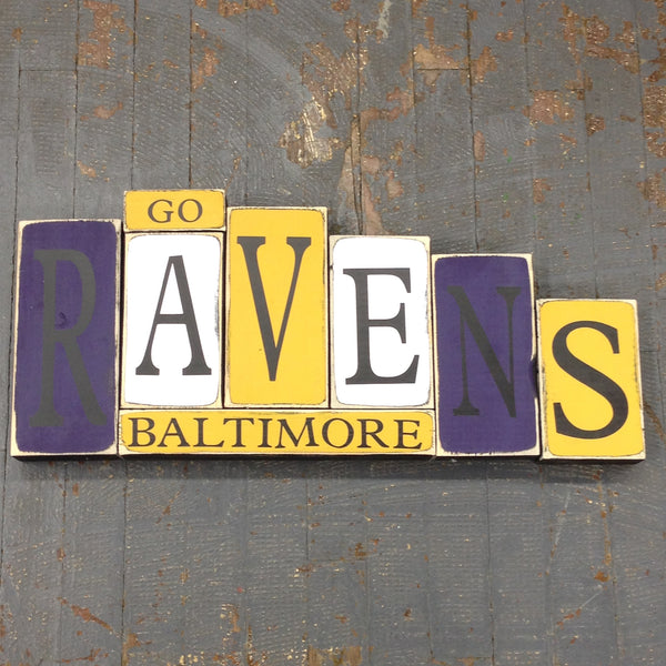 Hand Crafted Wood Word Block Set Football NFL Baltimore Ravens Decoration