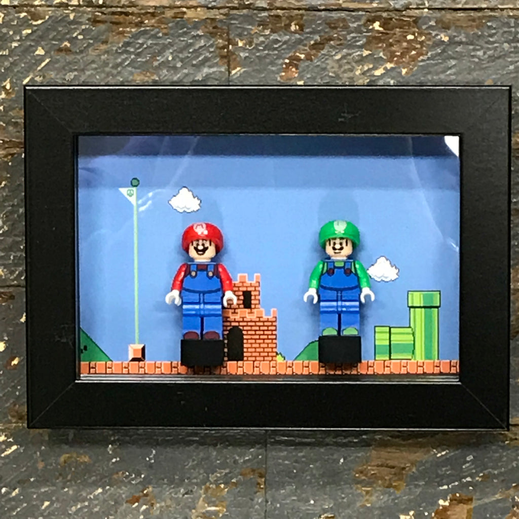 Mario Brothers Nintendo Lego Figurine Wall Display Picture Frame Toy Art