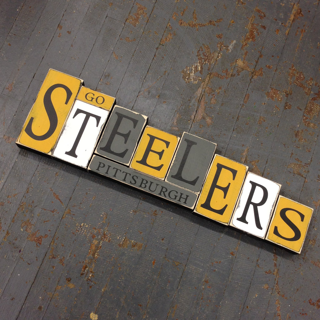 Hand Crafted Wood Word Block Set Football NFL Pittsburgh Steelers Decoration