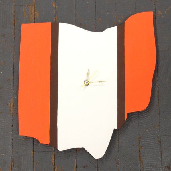 "State of Ohio Hand Crafted 13"" Cleveland Browns NFL Football Clock"