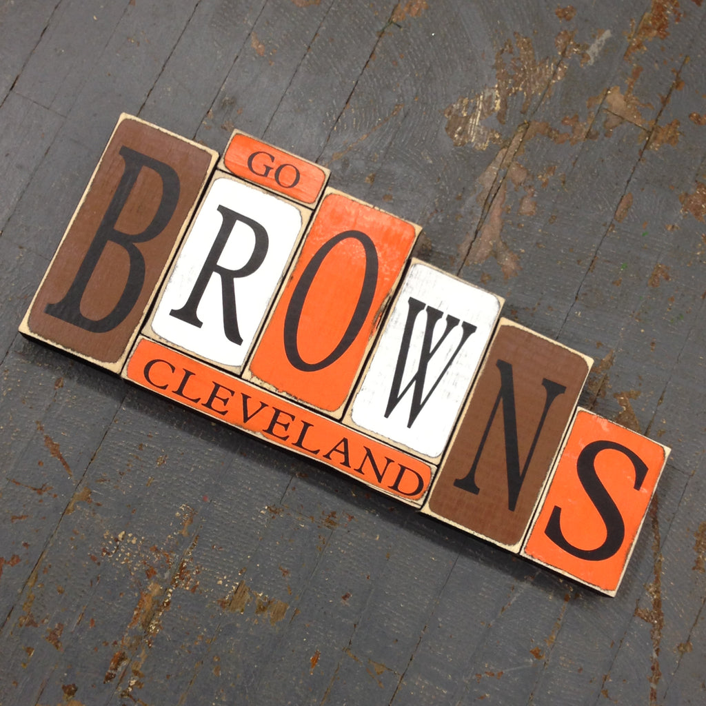 Hand Crafted Wood Word Block Set Football NFL Cleveland Browns Decoration