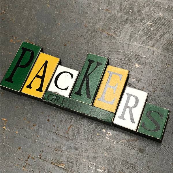 Hand Crafted Wood Word Block Set Football NFL Green Bay Packers Decoration