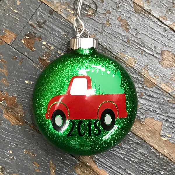 Holiday Christmas Tree Ornament Retro Pick Up Truck Green