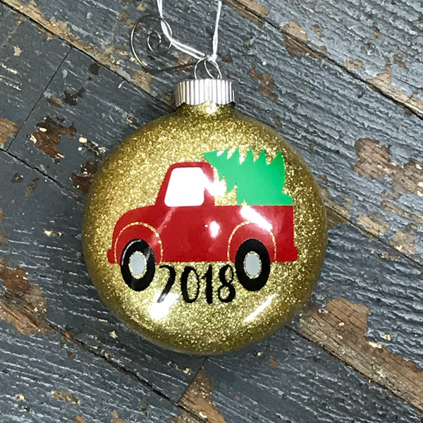 Holiday Christmas Tree Ornament Retro Pick Up Truck Gold