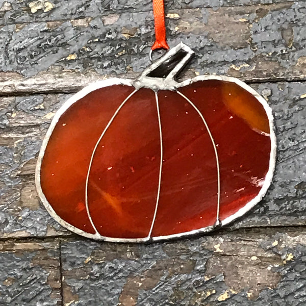 Stained Glass Sun Catcher Ornament Pumpkin