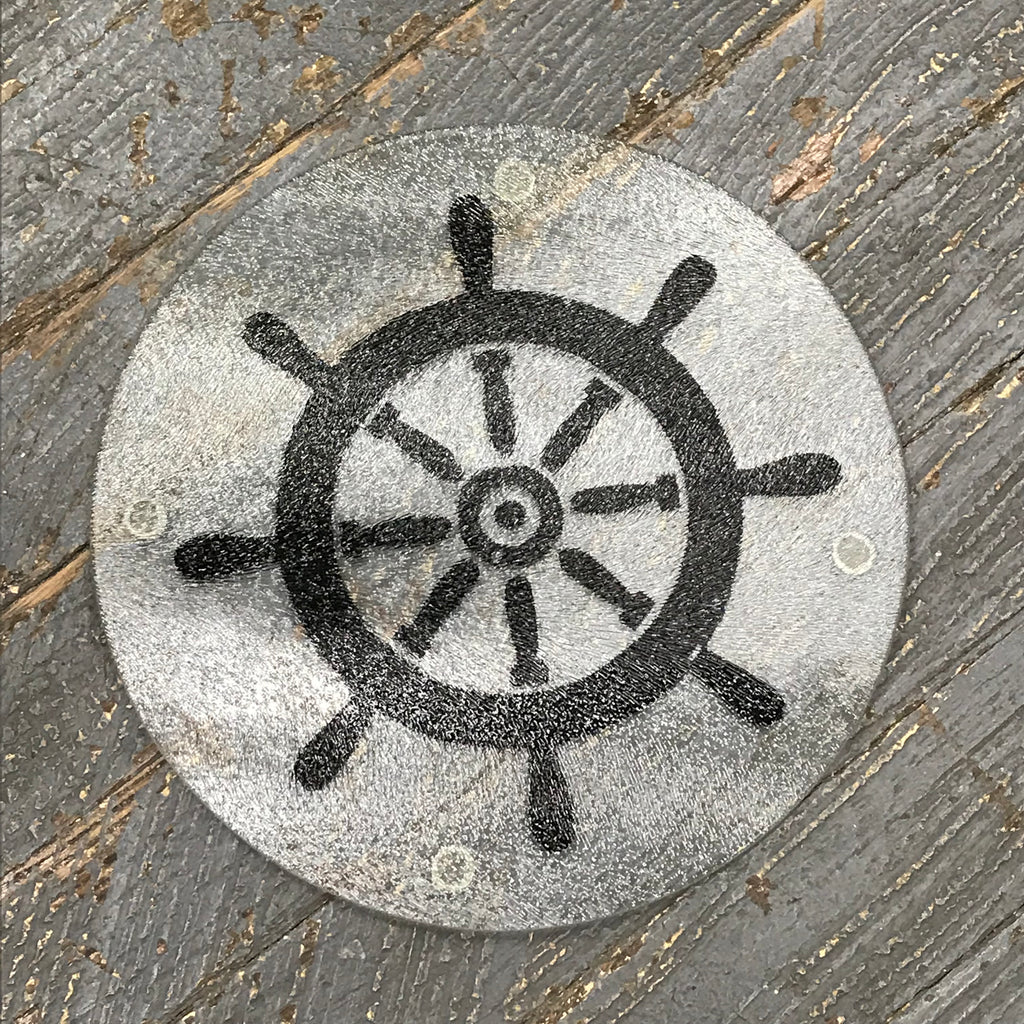 "Cutting Board Trivet 7.75"" Round Glass Vinyled Boat Ship Wheel"