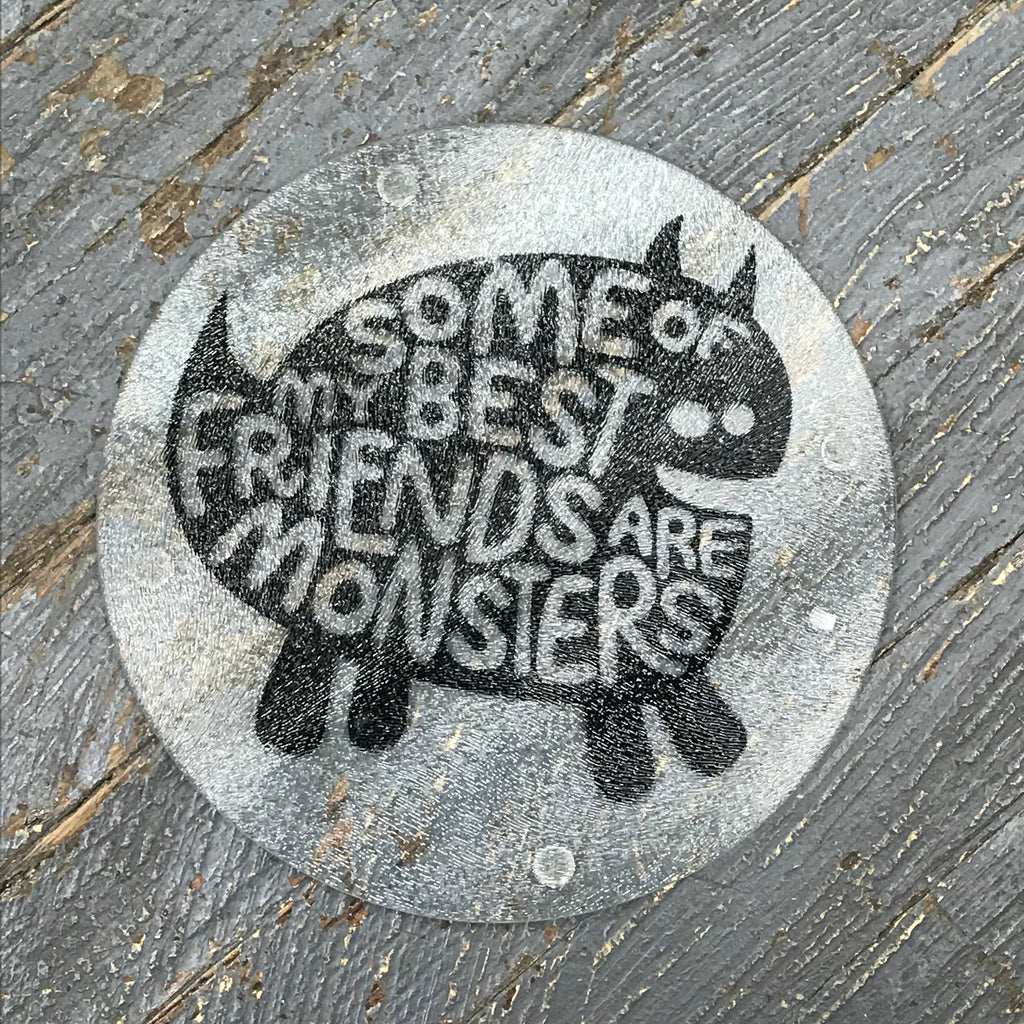 "Cutting Board Trivet 7.75"" Round Glass Vinyled Monster Friend"