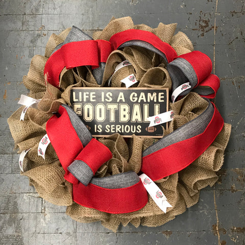 Burlap and Ribbon Ohio State Football Wreath Door Hanger