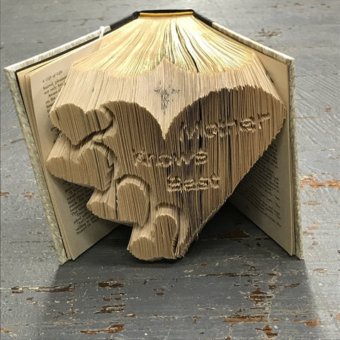 Folded Book Art Custom Folded Pages Hardback Book Word Mother Knows Best