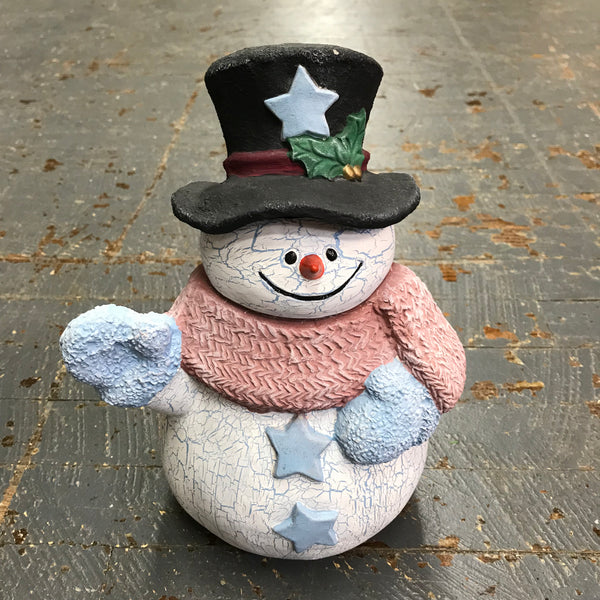 Ceramic Christmas Winter Snowman Crackle Frosty 2pc
