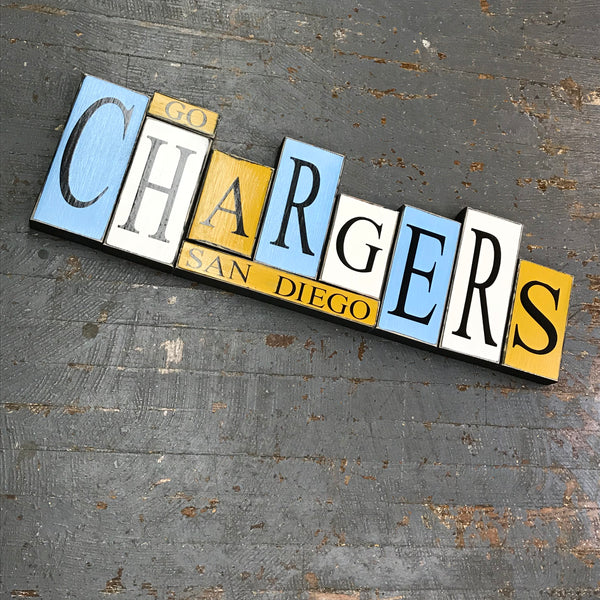 Hand Crafted Wood Word Block Set Football NFL San Diego Chargers Decoration