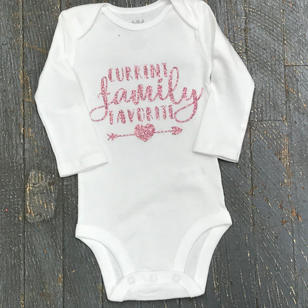 Family Favorite Glitter Personalized Onesie Bodysuit One Piece Newborn Infant Toddler Outfit