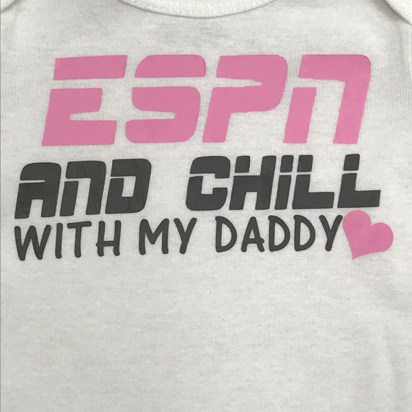 ESPN and Chill Personalized Onesie Bodysuit One Piece Newborn Infant Toddler Outfit