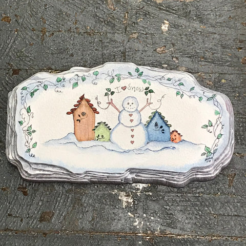 Ceramic Christmas Winter Snowman Birdhouse Wall Plaque Garden Stone