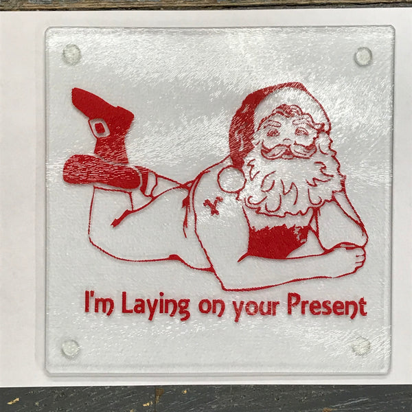 "Cutting Board Trivet 8"" Square Glass Vinyled Christmas Naughty Naked Santa"