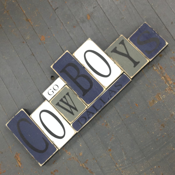 Hand Crafted Wood Word Block Set Football NFL Dallas Cowboys Decoration