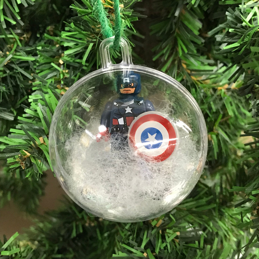 Holiday Tree Ornament Marvel DC Comic Captain America Lego Figurine