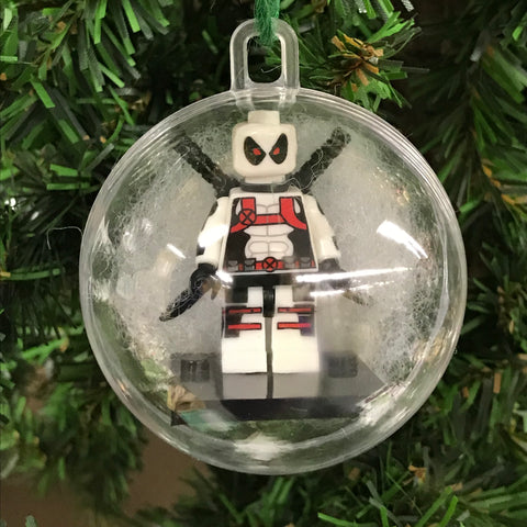 Holiday Tree Ornament Marvel DC Comic White Deadpool Lego Figurine
