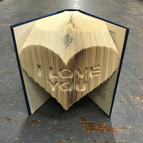 Folded Book Art Custom Folded Pages Hardback Book Word I Love You