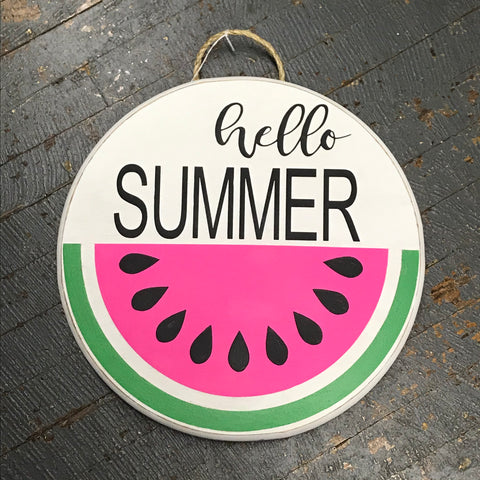 Hello Summer Watermelon Round Indoor/Outdoor Wall Sign Door Wreath