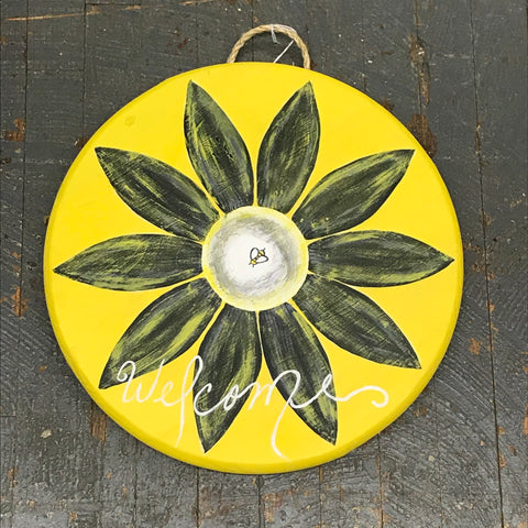 Honey Bee Sunflower Welcome Round Indoor/Outdoor Wall Sign Door Wreath
