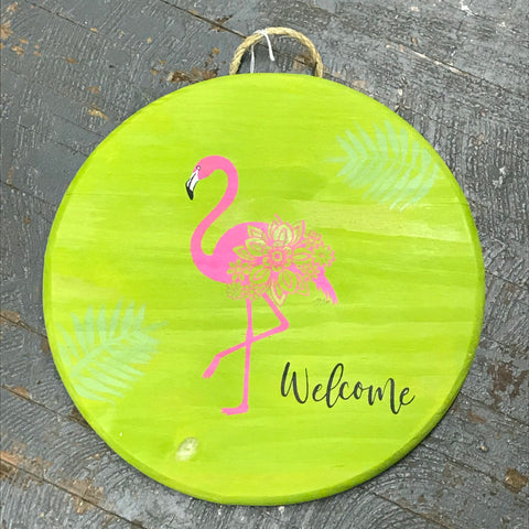 Pink Flamingo Welcome Round Indoor/Outdoor Wall Sign Door Wreath