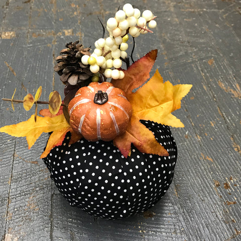 Fall Autumn Fabric Pumpkin Decoration Black Polka Dot Mini Pumpkin Detail
