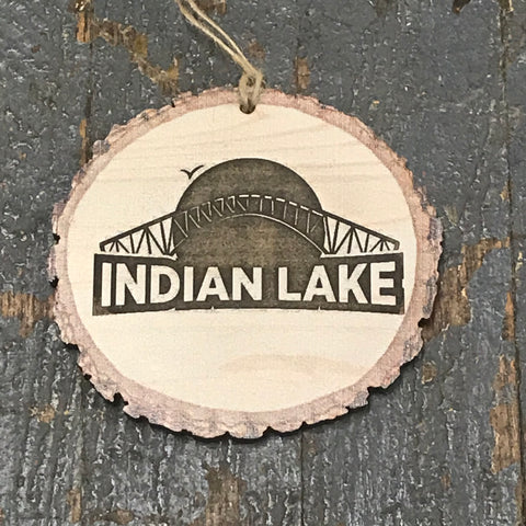Indian Lake Bridge Faux Sliced Log Ornament Light Shade