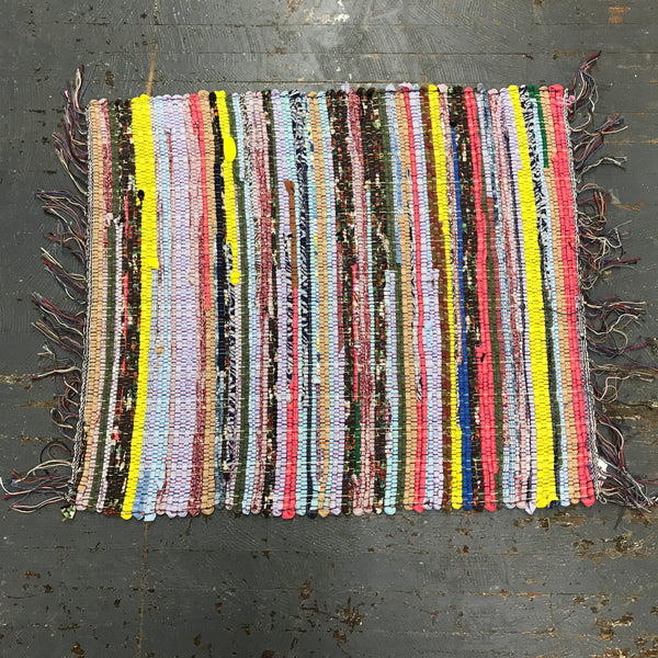 #20 Polyester Multi Color Rag Weaved Table Runner Rug by Dennis