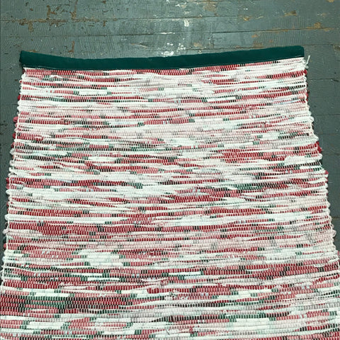 #109 Christmas Plaid Rag Weaved Table Runner Rug by Tom