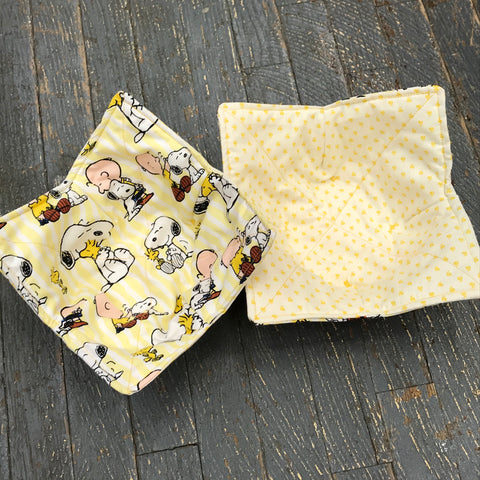 Handmade Fabric Cloth Microwave Bowl Coozie Hot Cold Pad Holder Charlie Brown Snoopy