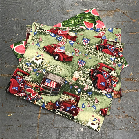 Reversible Handmade Fabric Cloth 4pc Placemat Set Red Pick Up Truck Summertime Watermelon