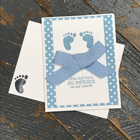 Little Feet Big Imprints New Baby Boy Handmade Stampin Up Greeting Note Card with Envelope