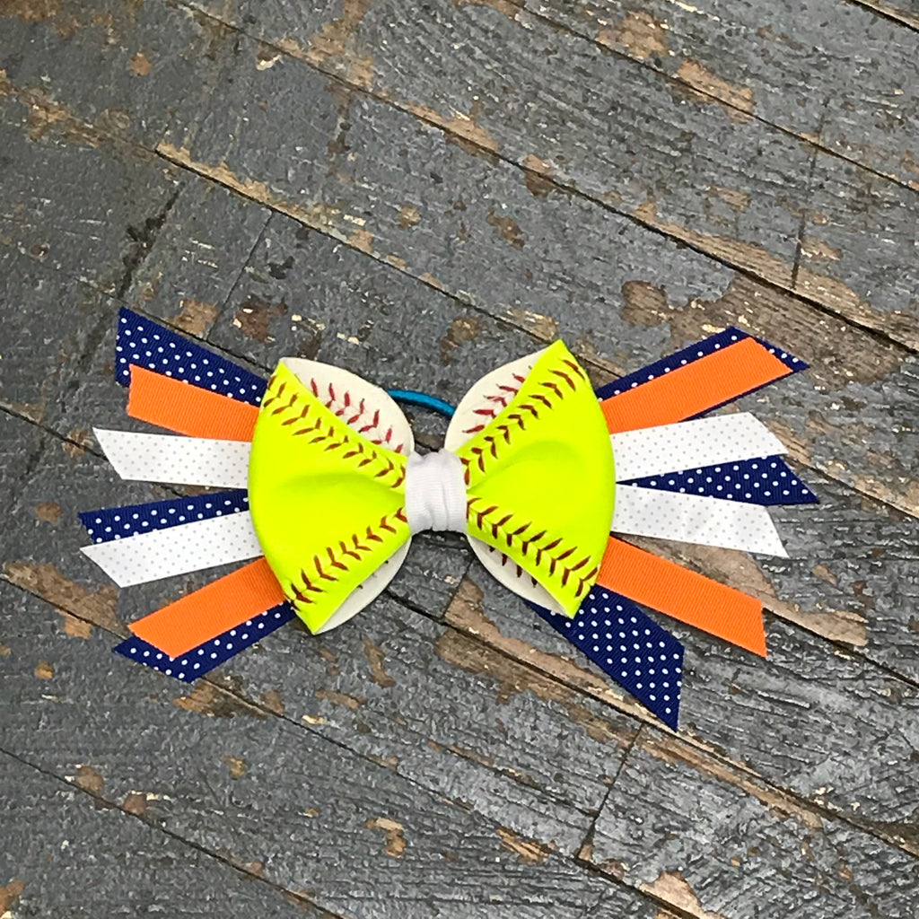 Handmade Softball Pony Tail Hair Band Bows with Stitching Assorted Colors Blue Orange