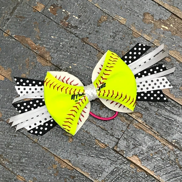 Handmade Softball Pony Tail Hair Band Bows with Stitching Assorted Colors Black Grey