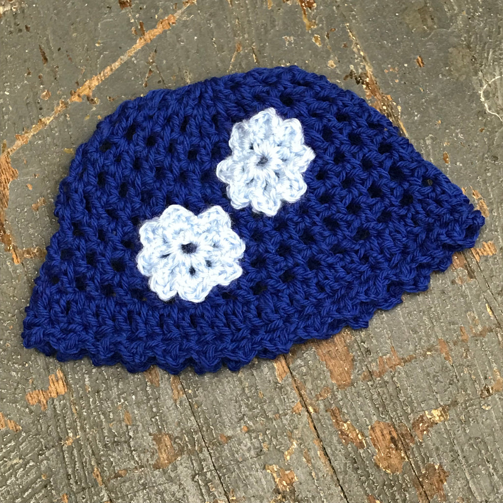 Crocheted Beanie Winter Hat Cap Youth Child Blue Blue Flowers