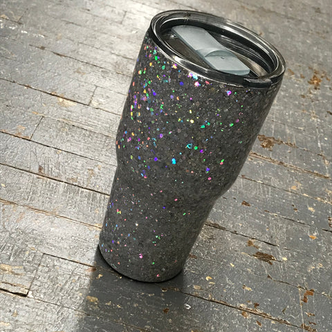 Silver Iridescent Sparkle Epoxy Glitter 30oz Double Wall Beverage Drink Tumbler