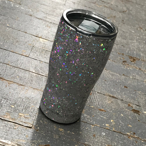 Silver Iridescent Sparkle Epoxy Glitter 20oz Double Wall Beverage Drink Tumbler