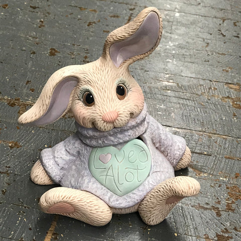 Ceramic Spring Easter Loved Alot Floppy Ear Bunny Rabbit Figurine
